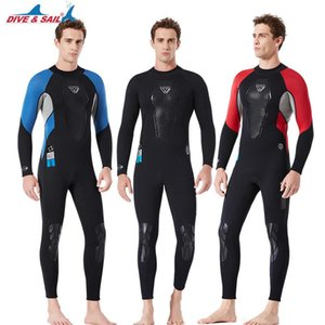 Dive Sail 3mm Neoprene Wetsuit uomo One-Piece Scuba Diving Suit Manica lunga Surfing Surfing Pehishing Snorkeling Swimsuit invernale