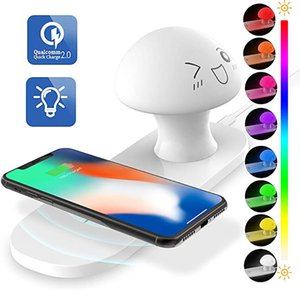 Wireless Charger and Night Light Touch Control Bedside Table Lamp Wireless Charger Warm White Light Color Changing RGB Lamp for Bedroom