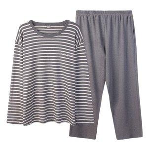 Spedizione gratuita uomo autunno e inverno nuovo 100% cotone pigiama set più fertilizzante per aumentare il pigiama LJ201130