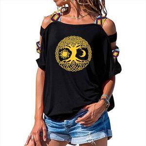 Sun Moon Sunshine Stars Crescent Dual Ethnic Symbol Tree T Shirt Women Loose Cotton Female T shirts Hollow Out Shoulder Tees