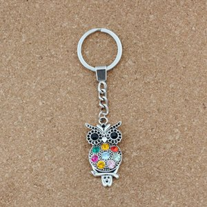 20pcs  lots Keychain Colorful Crystal Owl Alloy Charms Pendants Key Ring Travel Protection DIY Accessories S-7
