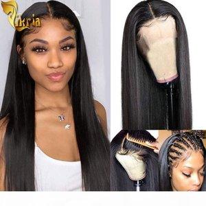 Silky Droite 13x4 Dentelle Front Human Hair Wigs Perruque pleine dentelle 100% Non transformé Brésilien Indian Vierge Head Head Height Cheveux pour femmes noires