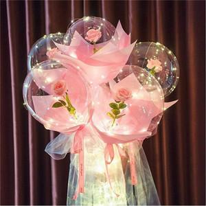 LED Balloon Light LED Luminous Bobo Ball Flashing Light Rose Bouquet Rose Valentines Day Gift Balloon for Birthday Party YYB4209