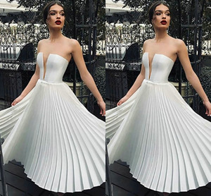 Strapless White Wedding Dresses Guest Chiffon Draped Open Back Party Bridal Formal Party For Bride Custom Open Back Wedding Gowns Cheap