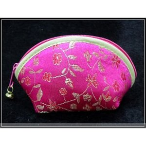 Cheap Lucky Seashell Zipper Coin Purse Fashion Wallet Silk Brocade Wedding Candy bag Bride Favor Chocolate Box Wholesale 60pcs  set
