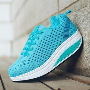 Hot Sale -Wedge Shoes Lady Lose Weight Sneakers Women Body Shaping Fitness Slimming Swing Sports Shoes For Female with logo