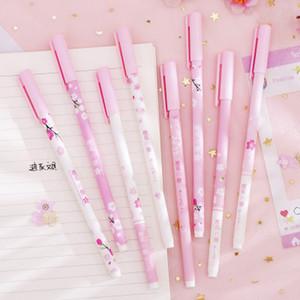 4 шт. / Лот 0,38 мм Розовые вишневые цветы Гель Ручка Kawaii Signature Pen Black Ink School Office поставляет студенческие канцелярские подарки