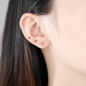 Earring Trendy S925 Stud Sets 3pair sets Earring Plated Zircon Rose Korean Silver Color Pink Set Gilrs Women Gift Gold Accessor Vqwmx