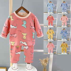 Boy girl Children's Thermal Underwear Set Autumn And Winter New Baby Plus Velvet Long-Sleeved Pajamas Children's Home Clthes Two-Piece e094