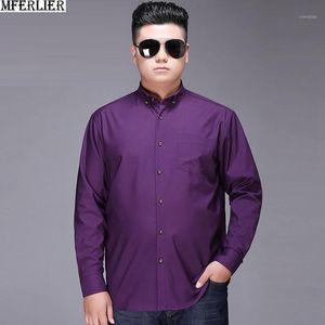 Мужские платья рубашки большого размера 7xL 8xL 9XL 10xL рубашка мужчины с длинным рукавом высокого качества простой формальный красный фиолетовый темно-синий синий негабарит