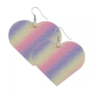 Valentine's Day Glitter Earrings 2021 New Arrival fashion PU Leather Heart-shaped Rainbow Glitter Earring For Women Ladies colorful