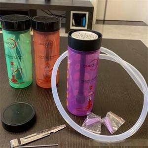 DHL 도매 가격 다채로운 아크릴 치차 시샤 물 담뱃대 컵 미니 사용자 정의 봉 휴대용 물 기억 만 호스 세트 액세서리 2021