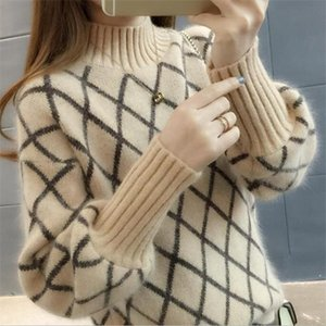2019 new arrival womens spring autumn Diamond lattice turtleneck knitted sweaters women casual pulllovers sweater Drop Shipping