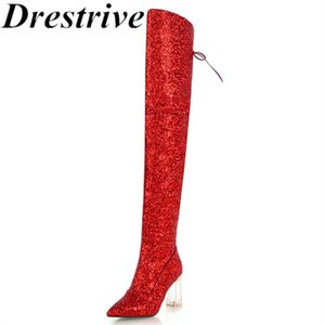 Drestrive women winter boots big size 32-43 sequined cloth lace-up pointed toe fashion zipper crystal heel 8.5 cm high shaft