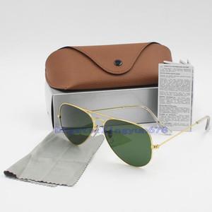Hochwertige neue Marke Ankunfts-Entwerfer-Pilot Sonnenbrille Männer Frauen Outdoorsman Sonnenbrillen Brillen 58mm 62mm Glaslinsen mit Brown-Fall