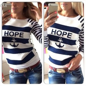 Hot Sale Anchor Women Print Hoodies Striped Causal Sweatshirts Tracksuits Multi Size Free Shipping 41 Drop Shipping