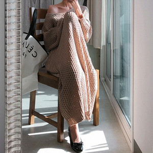 New Vintage Warm Autumn Sweater Women Dress Winter Long Sweater Knitted Dresses loose Maxi Oversize Lady Dresses Robe Vestidos 201109
