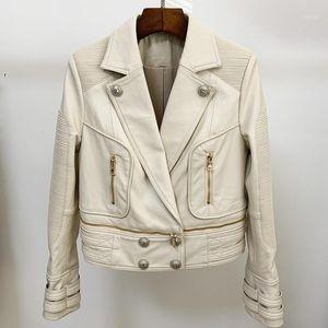 HIGH STREET New Fashion 2020 Designer Jacket Women's Lion Buttons Faux Leather Jacket Moto1