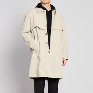 Men's 2020 fall paragraph dust coat grows in the new men's fashion left shoulder men coat lapels, 8339