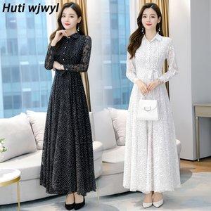 Autumn Winter Vintage Midi Dress Plus Size Polka Dot Chiffon Boho Black Beach Dress Women Party White Casual Maxi Vestidos Y200909
