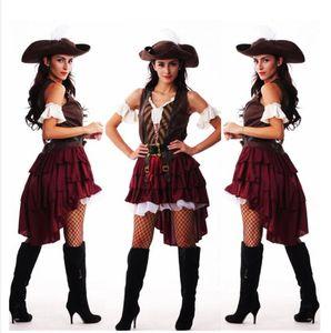 Аксессуары костюмов Сексуальный Хэллоуин Капитан Джек Воробья Косплей Пиратские костюмы для женщин Женский Взрослый Платье Шляпа