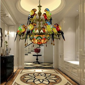 American garden chandelier Retro Tiffany colored glass parrot chandelier bar restaurant living room bird lamp glass lighting