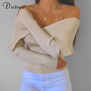 DICLOUD Sexy Off Shoulder Long Sleeve Knitted Sweaters Women Winter Spring Elegant Fashion Crop Pullovers Ladies Knitwear Beige