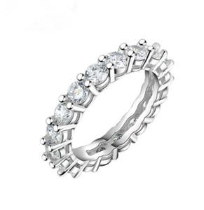 Choucong vintage moda jóias real 925 prata esterlina princesa branco topázio cz diamond eternidade mulheres casamento banda de noivado 60 l2