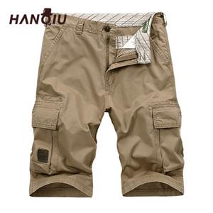 Hanqiu Summer Men Cargo Shorts Straight Fash Fashion Cotton Mens Ejército Military Pantalones cortos Talla grande 44 Y200901