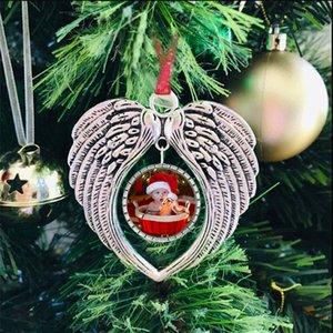 Sublimation Blank Ornements de transfert de chaleur Ailes d'ange pendentifs en forme de coeur de Noël Sublimation décorations de Noël bricolage Décoration XD24145