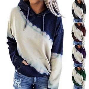 Krawatte farbstoff drucken frauen hoodies sweatshirts herbst winter mit kapuze kordelzug langarm damen pullover beiläufige tasche jumper hoodies