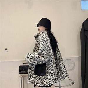 PU leather coat women's autumn and winter 2020 new motorcycle clothing leopard print two sides wear plush and thick cotton clothing