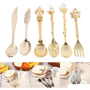 6 шт. / Установить Винтаж Винтажный стиль Royal Style Bronze резной маленький кофе чайной ложка мини десертная ложка для закусок столовые приборы столовые посуды