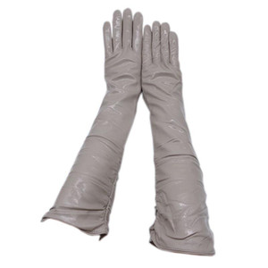 Winter ladies long patent leather gloves sheepskin bright leather long arm sleeves 45 cm gray 2020 new gloves arm s