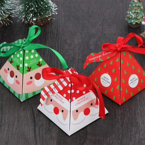 10 Pcs Christmas Theme Triangle Pyramid Gift Box Xmas Tree Ornament Cookie Candy Boxes New Year Decorations Souvenir Package Box