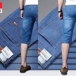 5M8le pantalon été neuf tout droit des hommes short extensible recadrée lâche Nine Short denim cheville longueur mince culotte d'âge moyen occasionnel de 7 points p