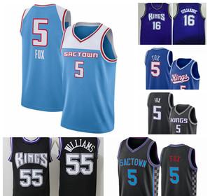 2021 Nouveaux Hommes Buddy Hield Deaaron Fox Swingman City Basketball Jersey Noir SacramentoroisIcône édition