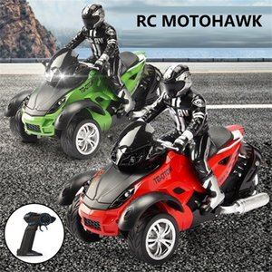 1:10 Scale Vehicle 2.4GHz High Speed Three Wheel RC MotoHawk Motorcycle Toys ATV Road Racer with LED Headlights Toy Gift for Kid 201223