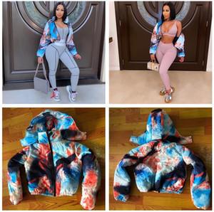 Kadınlar Pamuk dolgulu Giyim Tie-boya Moda Sonbahar Kış Kalın Sıcak Kapşonlu Fermuarlı Coat Ekmek ceketler Pamuk wadded ceket F110306