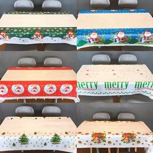 110 * 180cm 크리스마스 일회용 식탁보 PVC 테이블웨어 메리 크리스마스 나탈 표 크리스마스 장식품 새 해 장식 BH4335 WXM 커버