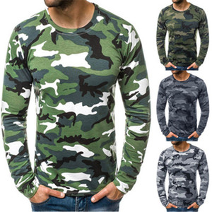 Mens Camouflage Round Neck T-shirt Fashion Trend Long Sleeve Casual Skinny Tops Tees Spring Male New Slim Folds Tshirt