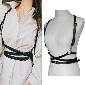 Frauen Hosenträger Gürtel Sexy Harajuku O-Ring Garters Faux Leder Damen Body Bondage Cage Sculpting Harness Taille Gürtel Riemen