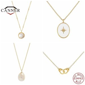 CANNER 100% Real 925 Sterling Necklace for Women Pearl Necklace Handcuffs Pendant Female Choker Chain Jewelry collares