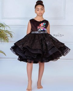 Backless Sexy Black 2020 Flower Girl Dresses Ball Gown Tulle Little Girl Wedding Dresses Cheap Communion Pageant Dresses Gowns ZJ645