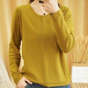 Attyyws printemps et automne nouvelle femelle 100% coton pull tricoté à manches longues en v-col en V chemise de fond de mode sauvage