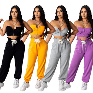 2020 Women Sets Summer Tracksuits Slim Strapless Skinny Crop Tops Pants Suit Two Piece Set Night Club Outfits 2 Pcs Street GL732