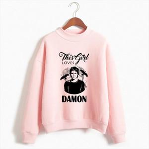 2021 Winter New The Vampire Diaries Print Hoodies Casual Cool Sweatshirt Women Streetwear Funny Harajuku Pink Hoodie