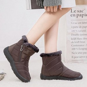New Hot Women Winter Warm Snow Boots Plush Lined Slip On Waterproof Ankle Shoes YAA99 3Cov#