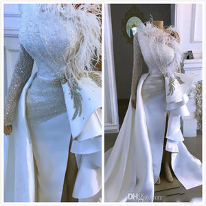 2021 Arabic Aso Ebi Sparkly Sexy Cheap Evening Dresses One Shoulder Crystals Feather Prom Dresses Sheath Formal Party Second Reception Gowns
