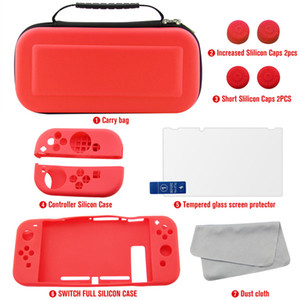 7 in 1 for Nintendo Switch Accessory Kit, include Carrying bag   Protective caps   Silicon Joycon case  HD Screen Protector  Big Microfiber